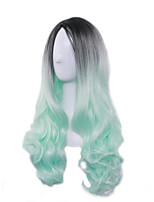 Long Cosplay Party Hit Black to Green Ombre Hair Heat Resistant