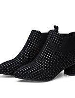 Damen-Stiefel-Lässig-Stoff-Blockabsatz-Komfort-Schwarz