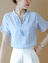 Women's Slim chic Summer Blouse Solid Patchwork Lace Cut Out V Neck Short Sleeve Polyester Thin