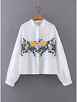 Women's Going out Casual/Daily Simple Street chic Fall Winter Shirt,Solid Shirt Collar Long Sleeve White Cotton Medium