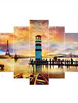 Estampados de Arte Paisagem Moderno,5 Painéis Horizontal Impressão artística Decoração de Parede For Decoração para casa