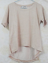 Feminino Camiseta Casual SimplesSólido Poliéster Decote Redondo Manga Curta Fina