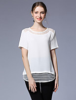 Women's Going out Casual/Daily Sexy Summer T-shirt,Solid Round Neck Short Sleeve Polyester Spandex Medium