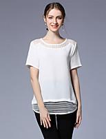 Damen Solide Sexy Ausgehen Lässig/Alltäglich T-shirt,Rundhalsausschnitt Sommer Kurzarm Polyester Elasthan Mittel