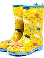 Girls' Flats Comfort Rubber Leatherette Spring Fall Outdoor Casual Walking Rain Boots Magic Tape Low Heel Yellow Blue Blushing Pink Flat