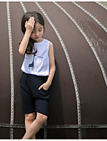 Girl Casual/Daily Print Sets,Cotton Summer Sleeveless Clothing Set