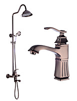 Antique Shower System Rain Shower Widespread Handshower Included with Ceramic Valve Two Handles Two Holes for Oil-rubbed Bronze Shower Set