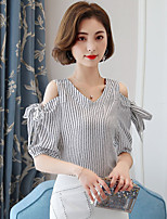 Women's Casual/Daily Cute Blouse,Striped V Neck Short Sleeve Cotton
