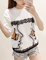 Women's Casual/Daily Simple Active Spring Summer T-shirt,Print Round Neck Short Sleeve Polyester Medium