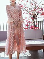 Для женщин Пляж Оболочка Платье Однотонный,V-образный вырез Макси Длинный рукав Шёлк Весна Лето Со стандартной талией Слабоэластичная