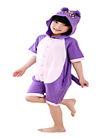 Kigurumi Pajamas Cat Leotard/Onesie Festival/Holiday Animal Sleepwear Halloween Purple Solid Cotton Cosplay Costumes ForUnisex Female  Kid
