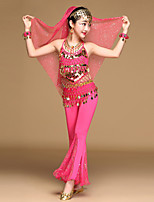 Shall We Belly Dance Outfits Kid Chiffon Spandex Tulle Coins Ruffles 4 Pieces