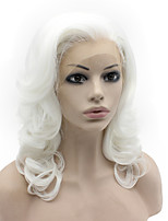White Color Syntheitc Lace Front Wigs Body Wave Heat Resistant Fiber Hair Wig for Woman