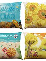 Set of 4 Sunflower Beach Pattern  Linen Pillowcase Sofa Home Decor Cushion Cover