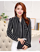 Women's Casual/Daily Simple Shirt,Striped Shirt Collar Long Sleeve Polyester Thin