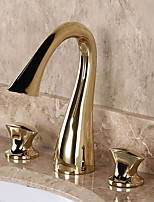 Modern Luxury Deck Mounted Widespread with  Brass Valve Two Handles Three Holes for  Ti-PVD  Bathroom Sink Faucet