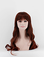 Japan and South Korea fashion ladies long wigs dark brown straight bangs natural wave high temperature wire wigs