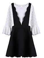 Women's Flare Sleeve Casual/Daily Simple T-shirt Dress Suits,Solid Round Neck Long Sleeve Micro-elastic