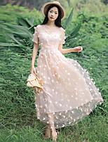 Una Sola Pieza/Vestidos Lolita Clásica y Tradicional Inspiración Vintage Elegant Princesa Cosplay Vestido  de Lolita Rosado BlancoEncaje
