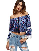 Tee-shirt Femme,Couleur Pleine Imprimé Décontracté / Quotidien simple Manches Longues Epaules Dénudées Polyester