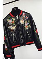 Для женщин На каждый день зима Кожаные куртки Круглый вырез,просто Однотонный Короткие Длинный рукав,лён