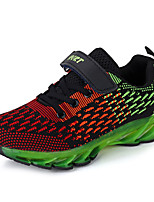 Boys' Athletic Shoes Spring Fall Light Soles Tulle Casual Flat Heel Lace-up Black/Blue Black/Green Fuchsia Running