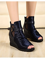Women's Sandals Spring Club Shoes Comfort PU Casual Wedge Heel Black