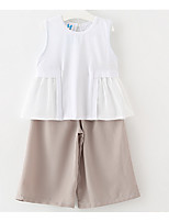 Girl Casual/Daily Solid Sets,Cotton Summer Sleeveless Clothing Set