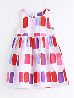 Girl's Casual/Daily Color Block Dress,Cotton Summer Sleeveless