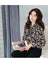 Women's Casual/Daily Simple Shirt,Floral V Neck ¾ Sleeve Polyester