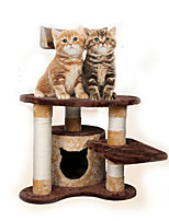 Cat Toy Interactive Climbing Rack Scratch Pad Durable Wood Plush Coffee Beige