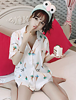 Women's Casual/Daily Cute Blouse Pant Suits,Rainbow Deep V Short Sleeve
