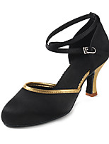 Customizable Women's Dance Shoes  Heeled shoes Latin Sandals  Mesh  Satin Black-Gold