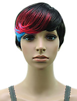 Capless 1B/Red/Blue Synthetic Hair High Temprature Heat Resistant Fiber Woman Wig