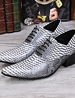 Men's Oxfords Club Shoes Cowhide Wedding Party & Evening Casual Lace-up Light Grey Walking