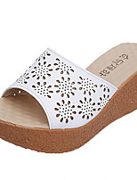 Women's Slippers & Flip-Flops Summer Comfort PU Casual Chunky Heel Lace-up Black White Walking