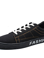 Men's Sneakers Spring Fall Comfort PU Casual Lace-up Black/Gold Walking