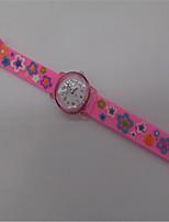 Женские Модные часы Кварцевый Pезина Группа Розовый