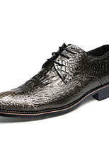Men's Oxfords Spring Summer  Leather Wedding  Party & Evening Flat Heel Lace-up Black Gold Walking Shoes