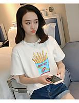 Feminino Camiseta Casual SimplesSólido Algodão Decote Redondo Manga Curta
