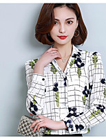 Women's Casual/Daily Work Simple Shirt,Print Shirt Collar Long Sleeve Others
