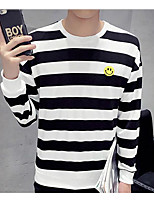 Men's Casual/Daily Sweatshirt Striped Round Neck strenchy Cotton Long Sleeve Spring
