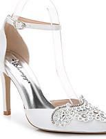 Damen-Sandalen-Hochzeit Büro Kleid Lässig Party & Festivität-Seide-Stöckelabsatz-D'Orsay und Zweiteiler-Weiß