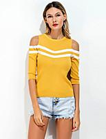Damen Solide Retro Einfach Ausgehen Lässig/Alltäglich T-shirt,Rundhalsausschnitt Frühling Sommer ½ Länge Ärmel Elasthan Dünn