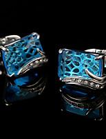 Luxury Blue Crystal Cufflinks Male French Cuff links Men's Gift Euramerican Metal Buttons Men Wedding Jewelry Suit Buttons Men