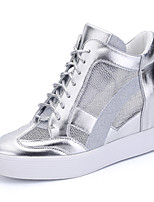 Women Inner Increasing 6-8 CM Height Sneakers Spring / Fall / Winter Comfort Patent Leather Outdoor / Office & Career / Casual Shoes Silver/Black