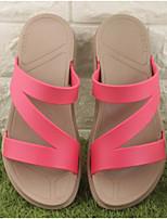 Women's Slippers & Flip-Flops Summer Slingback Rubber Casual Flat Heel Red Black White