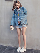 Women's Going out Casual/Daily Active Spring Denim Jacket,Letter Shirt Collar Long Sleeve Regular Cotton
