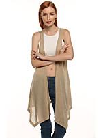 Mujer Largo Chaleco Casual/DiarioEstampado Escote Redondo Sin Mangas Algodón Verano Medio Microelástico