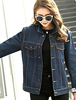 Women's Casual/Daily Vintage Winter Denim Jacket,Solid Round Neck Long Sleeve Regular Linen